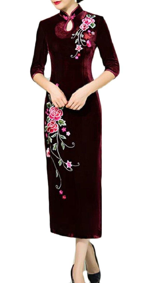 ONTBYB Women Classic Embroidery Premium Velvet Cheongsam Long Dress 1 XS