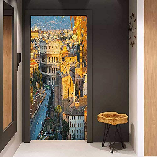 - Onefzc Door Wall Sticker Italy Colosseum in Rome Amphitheater Ancient Historical Architecture Evening Mural Wallpaper W36 x H79 Marigold Ivory Pale Blue