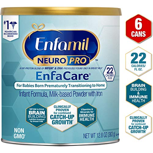 Enfamil NeuroPro EnfaCare Premature Baby Formula Milk Based w/Iron 12.8 Oz. (Pack of 6) Powder Can MFGM, Omega 3 DHA, 22 Cal, Catch up Growth for Premies, Immune Support & Brain Development