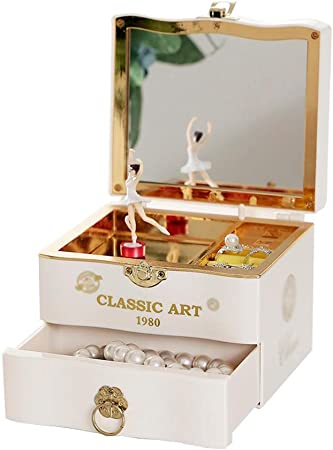 Liudan-Cajas Musicales Joyero de música Dulce con cajón extraíble y Caja de almacenaje de Joyas de Ballet Girl. (Color : White): Amazon.es: Hogar