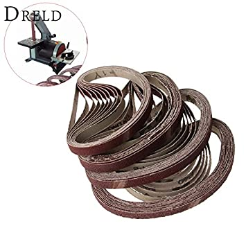 Maslin 10Pcs 13x457mm Abrasive Polishing Sanding Belt for Belt Sander Grinder Drill Grinding for Dremel Accessories Grit 40/60/80/120 - (Grit: Grit 80)