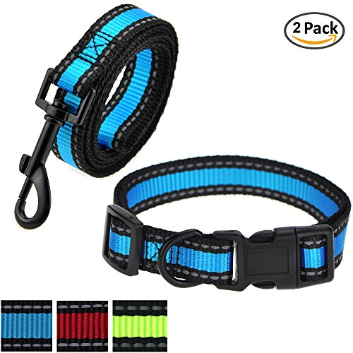 eash, Collar Combo Pack | Blue| Reflective 3M Stripe with Nylon Band | (Blue 2 Pack Leash Collar, Small Neck 12