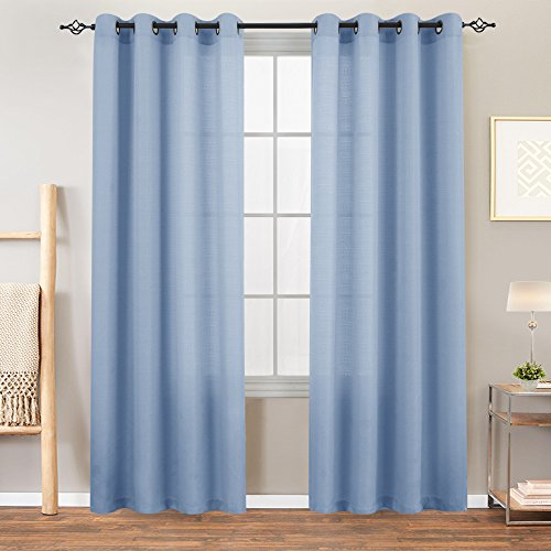 jinchan Sheer Window Curtains for Living Room Casual Weave Linen Textured Semi Sheer Curtain Panels 1 Pair Light Blue, L72 Long (Panel Sheer Semi)