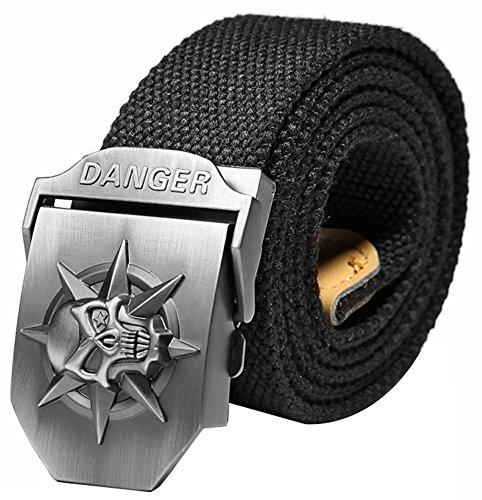 Ayliss Men's Canvas Web Belt Danger Skull Stainless Steel Buckle Military Waistband Black 125cm/49.2