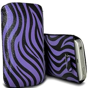 Nokia Lumia 900 Protección Premium de Zebra PU tracción Piel Tab Slip In Pouch Pocket Cordón piel cubierta de la caja de liberación rápida Púrpura y Negro por Spyrox