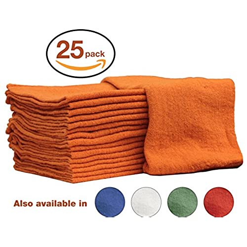 Auto Mechanic Shop Towels, Rags By Nabob Wipers 100% Cotton Commercial  Grade Perfect For Your Home Garage U0026 Auto Body Shop (14x14) Inches, 25  Pack, (Orange)