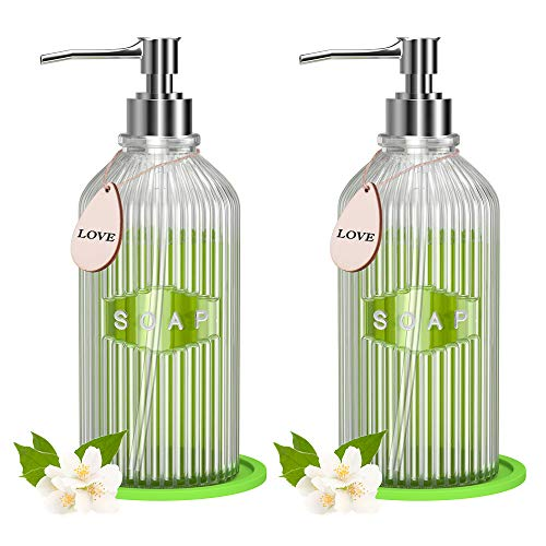 2 Pack Clear Glass Soap Dispenser with Rust Proof Pump, 17 Oz Refillable Liquid Hand Soap Dispenser for Bathroom, CIYOYO…