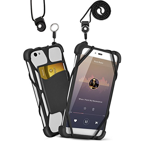 2 in 1 Phone Lanyard Silicone Case Universal 4'' to 6'' Anti-drop Detachable Adjustable Nylon Neck Strap by ARMRA for iPhone 7 6 Plus/5/Samsung Note 4 5/BLU R1 HD/ LG/ HTC/Huawei (Slim Type-Black) (Jitterbug Plus Cell Phone)