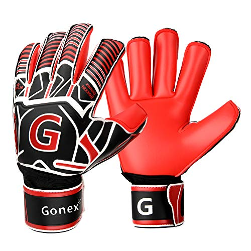 Gonex GK Goalie Gloves Soccer Goalkeeper Gloves with Fingersave Spines, Youth & Adult Pro-Level Gollies Golly Gloves, Roll Cut Finger Protection, 3.5mm Superior Grip