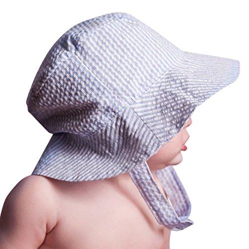 (Huggalugs Baby & Toddler Boys Blue Seersucker Bucket Sun Hat UPF 25+ 12-24)