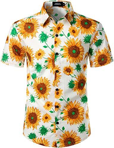 (JOGAL Men's Cotton Button Down Short Sleeve Hawaiian Shirt (White Sunflower, X-Large))