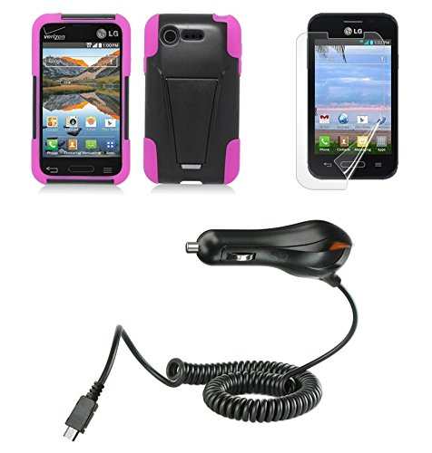 LG Optimus Fuel L34C / Optimus Zone 2 VS415 - Black/Hot Pink [Shockproof Armor Kickstand] Cover Case + Atom LED + PET-Film Screen Protector + Micro USB Car Charger (Car Charger For Optimus Fuel compare prices)