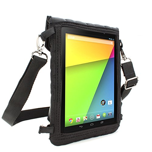 8-Inch Tablet Case Neoprene Sleeve Cover w/ Built-in Screen Protector &  Carry Strap by USA Gear Black Fits 2017 Samsung Galaxy Tab A2 S 8
