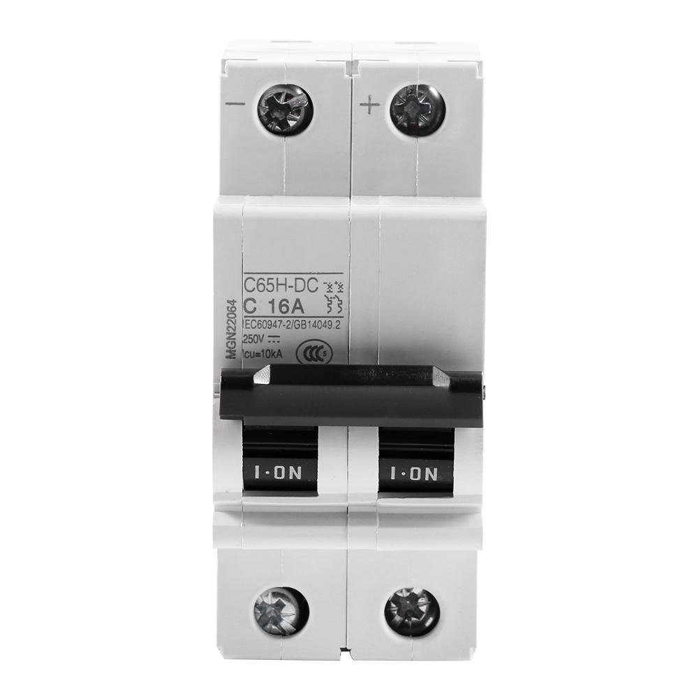 2P 250V Low-voltage DC Miniature Circuit Breaker For Solar Panels Grid System din rail mount 16A Walfront C65H-DC