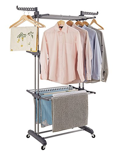 Rackarster Clothes Drying Rack,3-Tier Rolling Drying Rack with Upgraded Commercial Brake Wheels, Gray