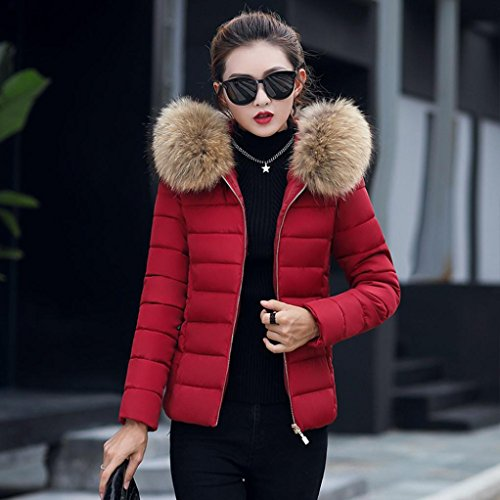 KIMODO Collar Winter Slim Overcoat Casual Women Jacket Warm Thicker Ladies Wine Solid Fur New Hooded HrTPUH
