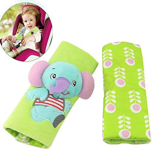 Baby Booster Seat Belt Cover - Infant Strollers Strap Covers Child Carseat Shoulder Pads, Green Elephant