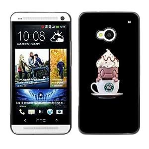 For HTC One M7 Case , Coffee Funny Monster Small - Diseño Patrón Teléfono Caso Cubierta Case Bumper Duro Protección Case Cover Funda