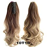 Hair Long Wy Ombre 20'' Clip On Hair Extensions Claw Pony Synthetic Hairpiece Heat Resistant Pony,#1B/Purple,20inches