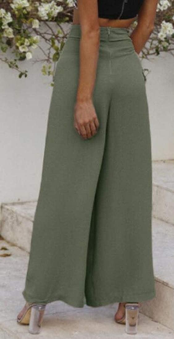 Joe Wenko Womens Summer All-Match Lace-up Wide Leg Palazzo High Rise Pants