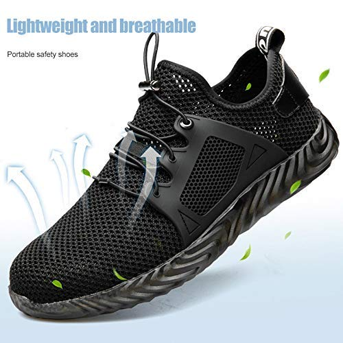 EUTEEWAL Safety Shoes Work Sneakers Men and Women Safety Training Shoes Steel Toe Cap Light Breathable Puncture Indestructible Shoes Ryder Steel Head Safety
