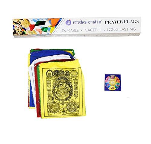 Mudra Crafts Tibetan Buddhist Indoor Outdoor Cotton Affirmation Windhorse Prayer Flags (Bhavacakra Wheel of Life)