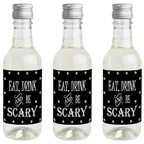 Spooktacular - Mini Wine and Champagne Bottle Label Stickers - Eat, Drink and Be Scary Halloween Party Favor Gift for Women and Men - Set of -