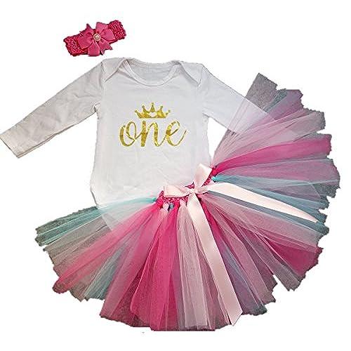 Babys 1st birthday gifts amazon aishiony 3pcs baby girl 1st birthday tutu onesie skirt dress newborn outfit largelong sleeve rainbow12 months negle Gallery