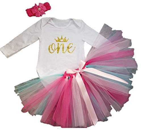 AISHIONY 3PCs Baby Girl 1st Birthday Tutu Onesie Skirt Dress Newborn Outfit (Large),long sleeve rainbow,12 Months -
