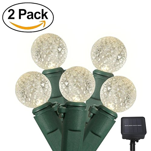 Strings Light G12 Led (2 Pack Warm White G12 Solar String Lights Total 200 LED Diamond String Lights Globe Party Fairy Lights for Home, Garden, Patio, Holiday, Wedding Decoration)