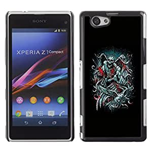 Be-Star Único Patrón Plástico Duro Fundas Cover Cubre Hard Case Cover Para Sony Xperia Z1 Compact D5503 ( Angel Death Black Throne King Devil )