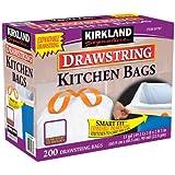 Kirkland SignatureTM 13 Gallon White Drawstring Kitchen Bag 200 Count