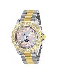 Invicta Women's Sea Base Gold-Tone Steel Bracelet & Case S. Sapphire Quartz Pink Dial Analog Watch 23832