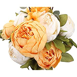 Duovlo Artificial Peony Silk Flowers Fake Flowers Vintage Wedding Home Decoration,Pack of 1 (New Orange) 15