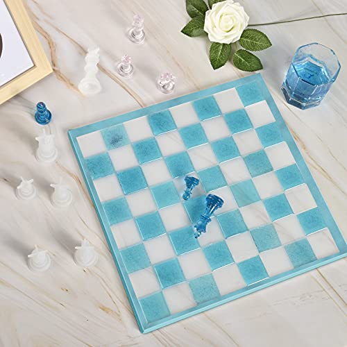 Chess Board Silicone Resin Molds Set with Chess Pieces Checkers Molds and Epoxy Mold for Family Party Games DIY Crafts Making Board Games