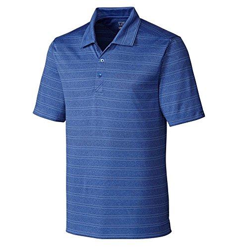 Cutter & Buck Men's Big and Tall Melange Stripe Interbay Polo Shirt, Tour Blue Heather, (Tour Collection Rain Shirt)