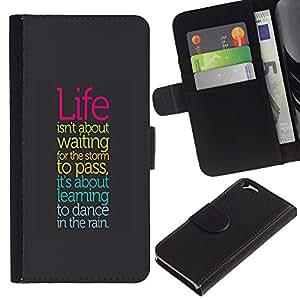 """Apple (4.7 inches!!!) iPhone 6 , la tarjeta de Crédito Slots PU Funda de cuero Monedero caso cubierta de piel ("""" Life Storm Dancing Rain Positive Quote Attitude"""")"""