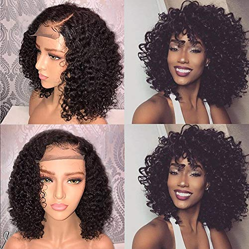 Andria Hair Afro Kinkys Curlly Lace Front Wigs Synthetic Bob Wigs Heat Resistant Fiber Hair for Black Women (14 Inch Afro Kinky Curly Black -