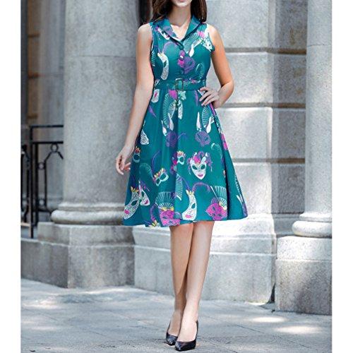 Honghu Elegante Vintage Vestido Sin Mangas de la Vendimia para Mujer De Impresión por la rodilla Vestido Verde