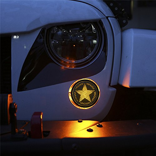 opar Smoke Turn Signal Lights for 2007-2018 Jeep Wrangler JK & Wrangler Unlimited (Five Star LED)
