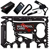 37 in 1 Credit Card Multitool Set Dad Gifts. Best Gifts for Dad - Multi-purpose Pocket Tool & Gadgets, Cool Tools for Men in a Wallet Survival Card Gift Set - Black Edition v2.1