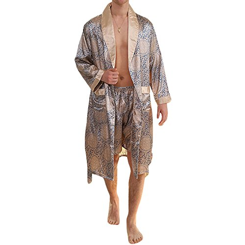 MAGE MALE Men's Summer Luxurious Kimono Soft Satin Robe Shorts Nightgown Long-Sleeve Pajamas Printed (Man Fashion Silk)