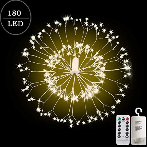 Almoz Firework String Lights,180 LED Christmas Fairy Lights with Remote Control Waterproof Hanging Starburst Lights for Ceiling Bedroom Christmas Party Decor Outdoor Dinner Twinkle Star Lights