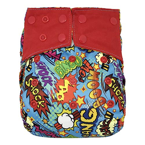 Reusable Diaper Cover: Waterproof Shell for Baby Prefold Cloth Diapers, Flats or Inserts (Bang Boom Comic)