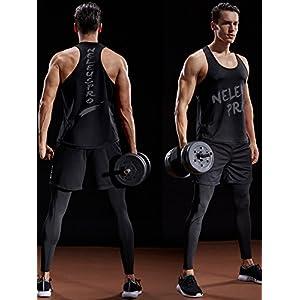 Neleus Men's 3 Pack Mesh Workout Muscle Tank Top,5007,Black,Grey,Red,US M,EU L
