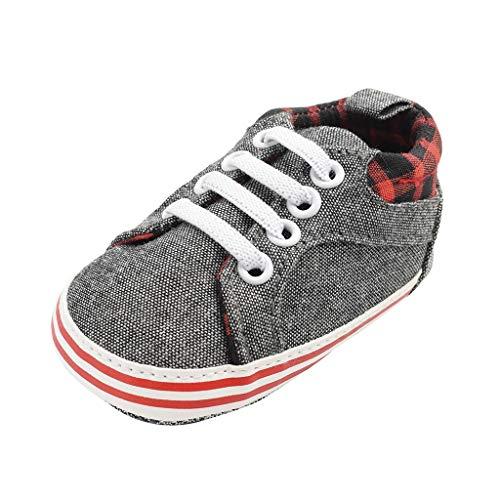 ❤️ Sunbona Newborn Baby Boys First Walkers Soft Sole Shoes Summer Casual Toddler Denim Cavans Plaid Anti-Slip Flat Sneaker
