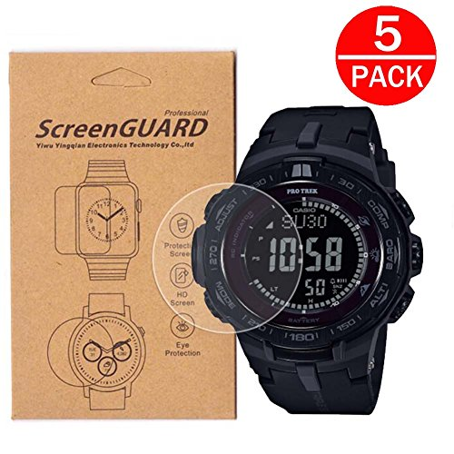 [5-Pack] For Casio PRW-3510/PRW-3100 Watch Screen Protector,Full Coverage Screen Protector HD Clear Anti-Bubble and Anti-Scratch for PRW3510/PRW3100