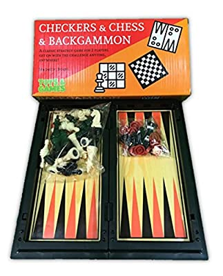 Backgammon, Checkers & Chess Magnetic Set in Case