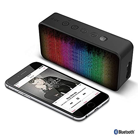 iLuv LED Portable Bluetooth Speaker with Dynamic Color and 7 Lighting Themes, Hands-free Speakerphone, Aux-in Port, and Power Sound for iPhones, iPads, and other Smartphones and (Light Pulse Cable Aux)