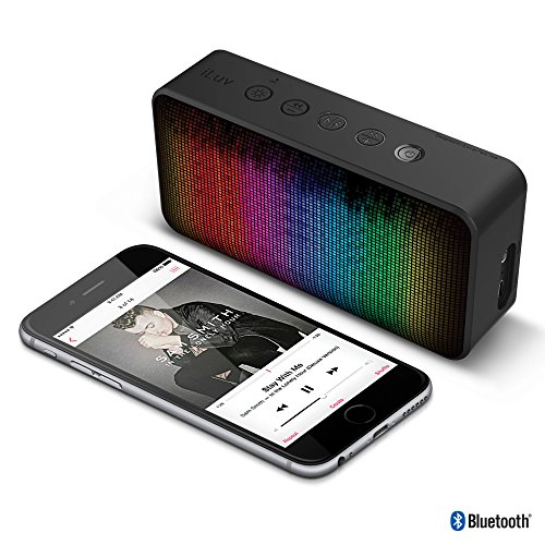 iLuv LED Portable Bluetooth Speaker with Dynamic Color and 7 Lighting Themes, Hands-free Speakerphone, Aux-in Port, and Power Sound for iPhones, iPads, and other Smartphones and Tablets
